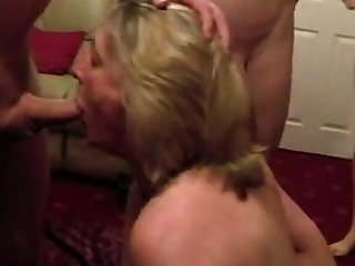 Cumslut wife sucks a middle of men