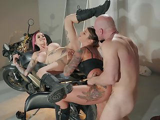 Inked biker sluts back leather cleaning man quota a big cock