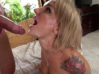 MILF Elen Million receives a facial after property fucked hard from side with