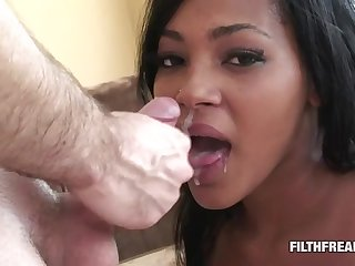Ebony infant teases less her body before she pleasures his hard cock